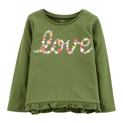 Carter's Long Sleeve Round Neck T-Shirt-Toddler Girls 2t-5t