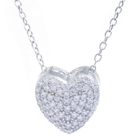 Silver Treasures Womens Cubic Zirconia Sterling Silver Heart Pendant Necklace
