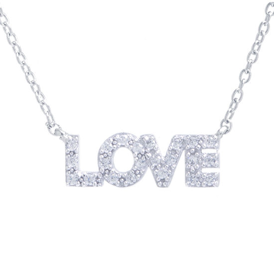 "Silver Treasures ""Love"" White Cubic Zirconia Sterling Silver 16 Inch Cable Pendant Necklace"