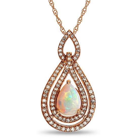 Womens 1/3 CT. T.W. Lab Created White Opal 10K Rose Gold Pendant Necklace