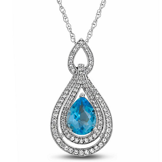 Womens 1/3 CT. T.W. Genuine Blue Topaz 10K White Gold Pendant Necklace