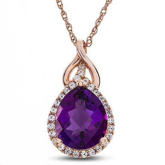 Womens 1/4 CT. T.W. Genuine Purple Amethyst 10K Rose Gold Pendant Necklace