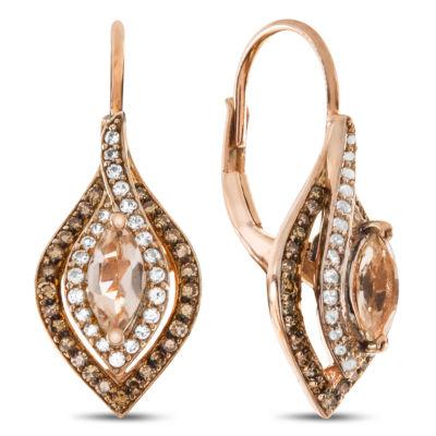 1/3 CT. T.W. Genuine Pink Morganite 10K Rose Gold Drop Earrings