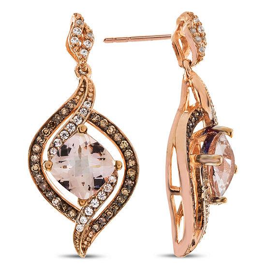 1 3 Ct Tw Genuine Pink Morganite 10k Rose Gold Drop Earrings