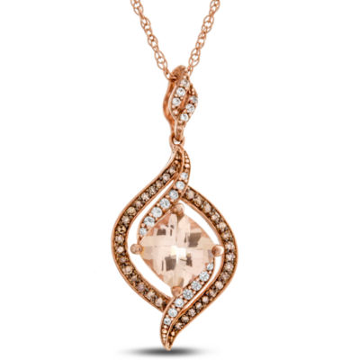 Womens 1/4 CT. T.W. Genuines Pink Morganite 10K Rose Gold Pendant Necklace