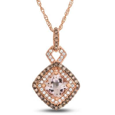 Womens 1/3 CT. T.W. Genuine Pink Morganite 10K Rose Gold Pendant Necklace