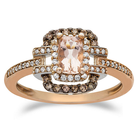 Womens 1 3 Ct Tw Genuine Pink Morganite 10k Rose Gold Cocktail Ring