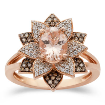 Womens 1/2 CT. T.W. Genuine Pink Morganite 10K Rose Gold Cocktail Ring