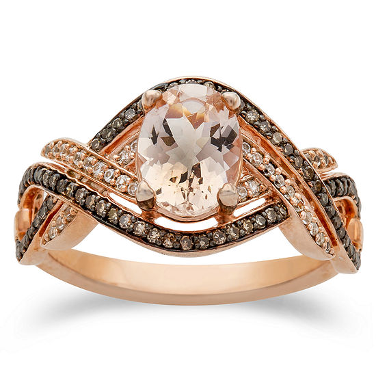 Womens 1/3 CT. T.W. Genuine Pink Morganite 10K Rose Gold Cocktail Ring