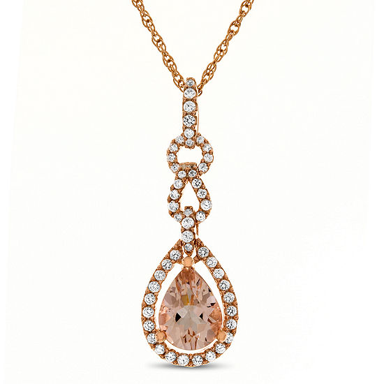 Womens 1/4 CT. T.W. Genuine Pink Morganite 10K Rose Gold Pendant Necklace