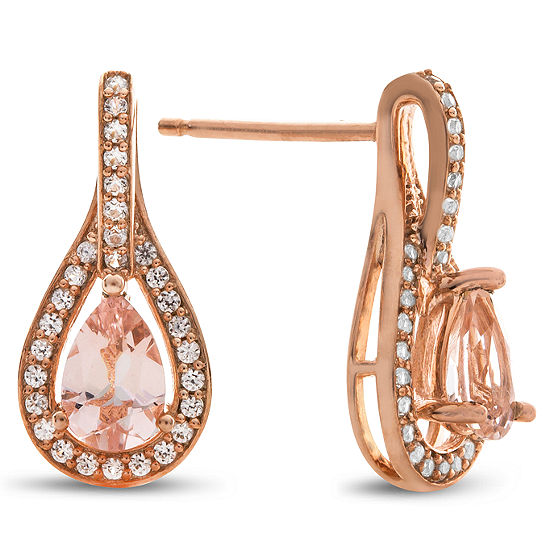 1/4 CT. T.W. Genuine Pink Morganite 10K Rose Gold Drop Earrings