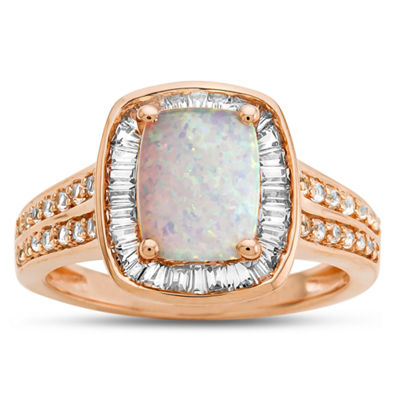 Womens Lab Created Multi Color Opal 14K Rose Gold Over Silver Cocktail Ring