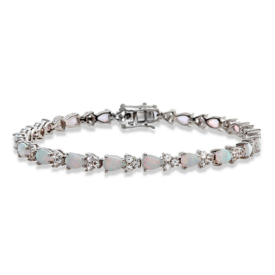 Lab Created White Opal Sterling Silver 7 Inch Tennis Bracelet