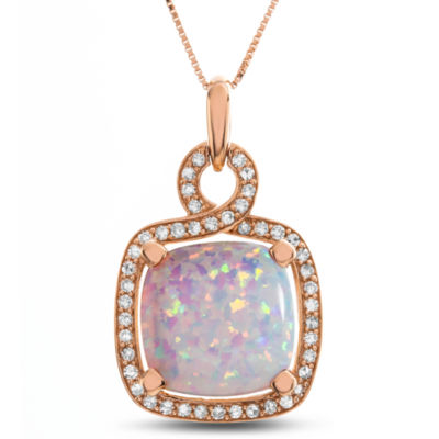 Womens Lab Created White Opal 10K Rose Gold Pendant Necklace