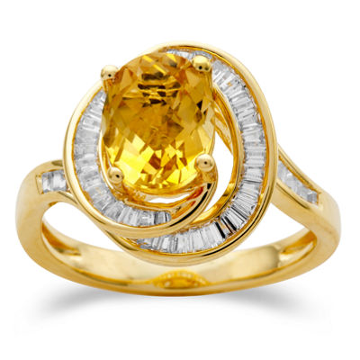 Womens Genuine Yellow Citrine 14K Gold Over Silver Cocktail Ring
