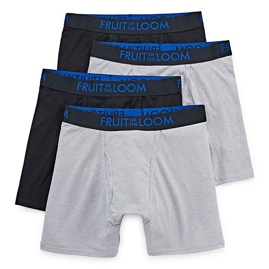 Fruit Of The Loom 3+1 Bonus Pair Breathable Cooling Cotton Micro-Mesh Boxer Briefs