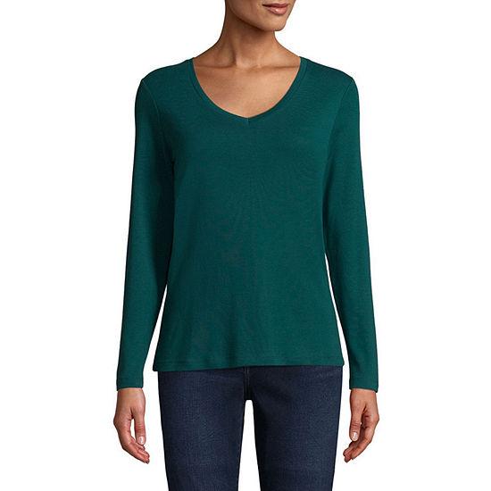 St. John's Bay Womens Tall V Neck Long Sleeve T-Shirt
