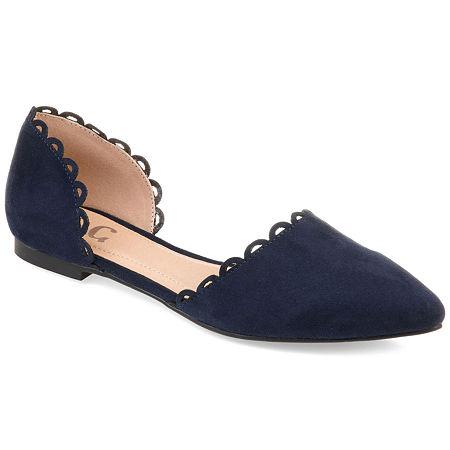 Journee Collection Womens Jezlin Slip-on Pointed Toe Ballet Flats, 9 Medium, Blue