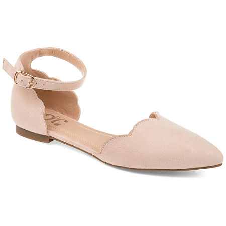 Journee Collection Womens Lana Ballet Flats Buckle Pointed Toe, 11 Medium, Beige