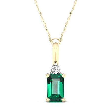 Womens Genuine Green Emerald 10K Gold Pendant Necklace, One Size