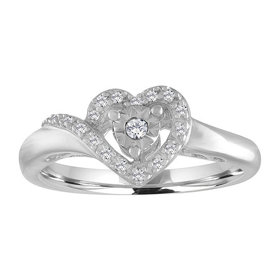 Promise My Love Womens 1/10 CT. T.W. Genuine White Diamond Sterling Silver Heart Promise Ring