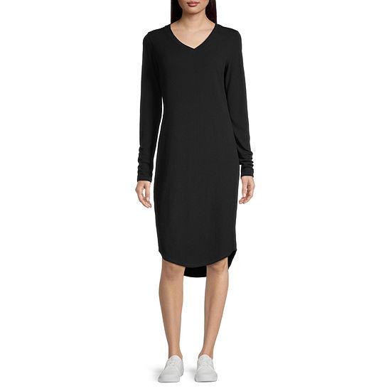 Stylus Long Sleeve High-Low T-Shirt Dress
