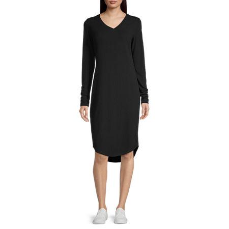 Stylus Long Sleeve Midi T-Shirt Dress, Medium , Black
