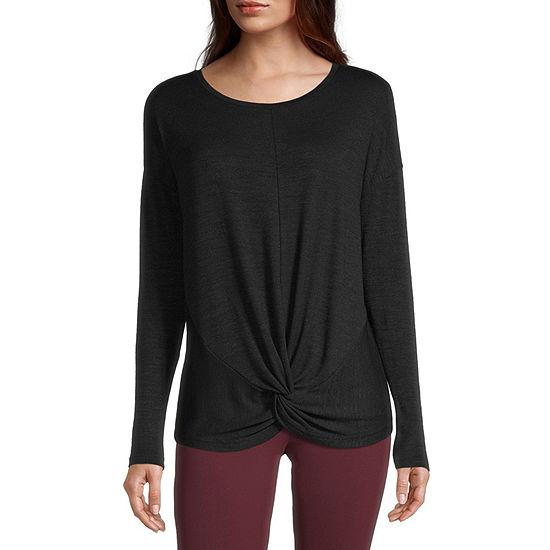 Stylus Twist Front Womens Round Neck Long Sleeve T-Shirt