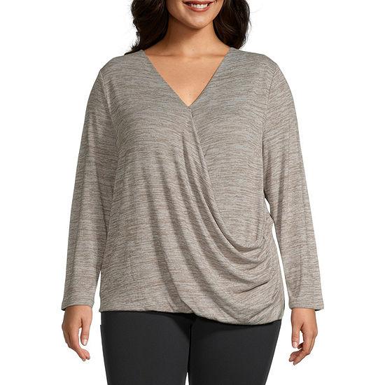 Stylus Surplice Womens V Neck Long Sleeve Wrap Shirt Plus