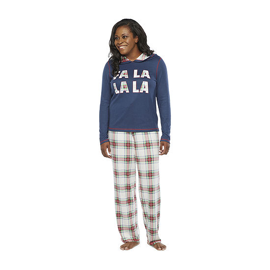 North Pole Trading Co. Fa La La Womens Long Sleeve Pant Pajama Set 2-pc.