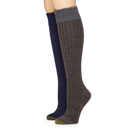 Gold Toe 2 Pair Crew Socks Womens, 9-11 , Black