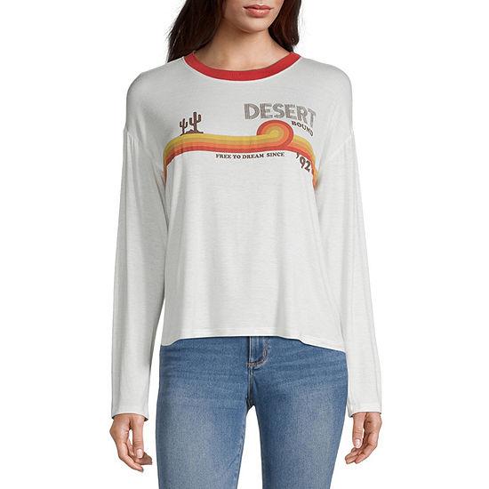 Miken-Juniors Womens Crew Neck Long Sleeve Graphic T-Shirt