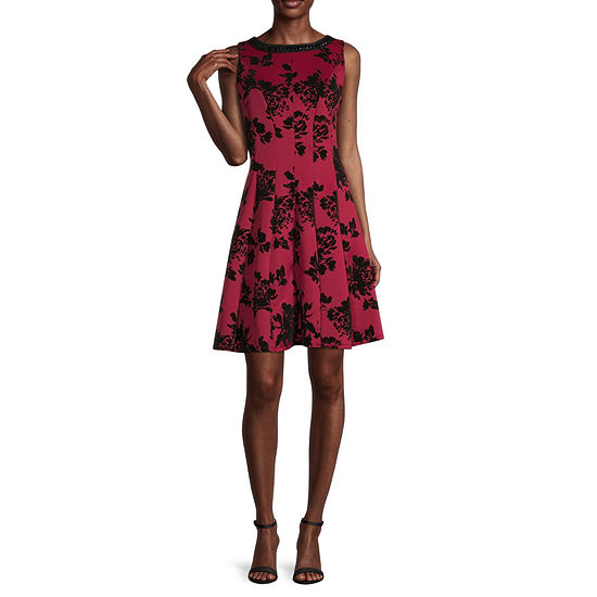 Studio 1 Sleeveless Embellished Floral Fit & Flare Dress