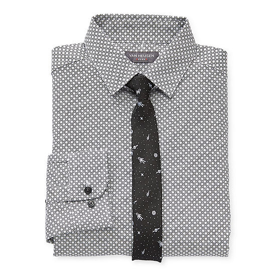 Van Heusen Big Boys Husky Spread Collar Long Sleeve Shirt + Tie Set