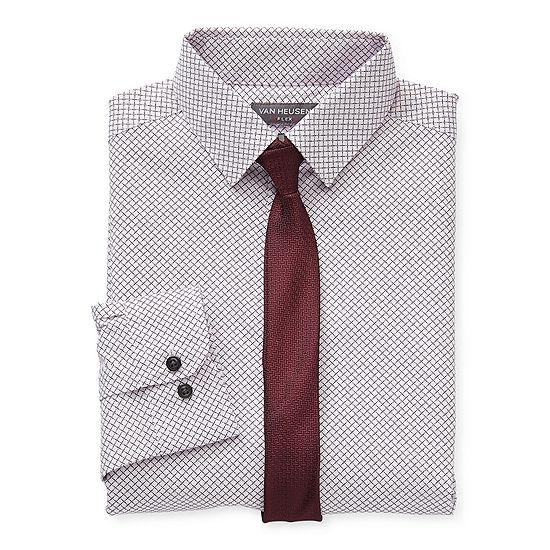 Van Heusen Little & Big Boys Point Collar Long Sleeve Stretch Shirt + Tie Set