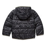 Okie Dokie Toddler Boys Hooded Packable Reversible Midweight Puffer Jacket