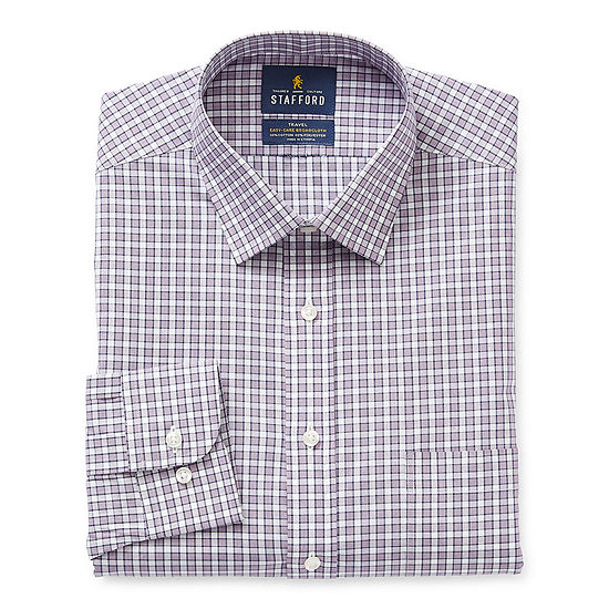 Stafford - Fitted Mens Spread Collar Long Sleeve Stretch Dress Shirt