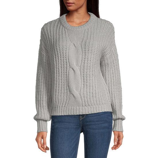 Belle Du Jour-Juniors Womens Crew Neck Long Sleeve Pullover Sweater