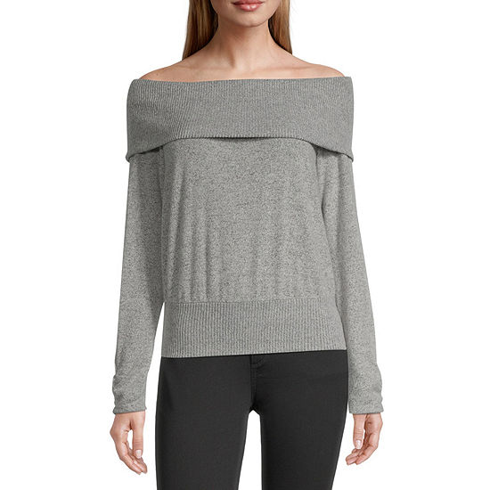 by&by-Juniors Womens Straight Neck Long Sleeve Pullover Sweater