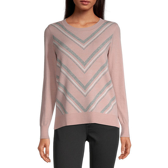 Liz Claiborne Womens Round Neck Long Sleeve Chevron Pullover Sweater