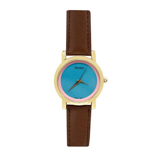 Decree® Concepts Womens Brown Block Strap Watch