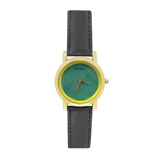 Decree® Concepts Womens Gray Block Strap Watch