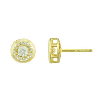 Petite Lux™ Cubic Zirconia 10K Yellow Gold Round Halo Stud Earrings