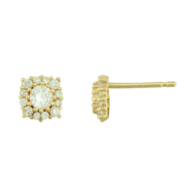 Petite Lux™ Cubic Zirconia 10K Yellow Gold Halo Stud Earrings