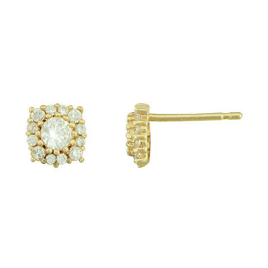 Petite Lux™ Cubic Zirconia 10K Yellow Gold Halo Stud Earrings