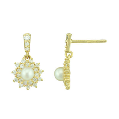 Petite Lux™ Cultured Freshwater Pearl and Cubic Zirconia Starburst Drop Earrings