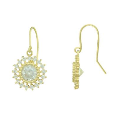 Petite Lux™ Cubic Zirconia 10K Yellow Gold Flower Drop Earrings