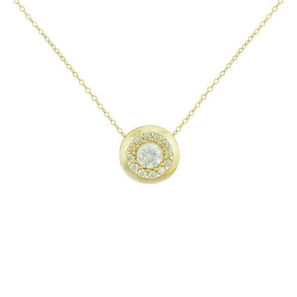 Petite Lux™ Cubic Zirconia 10K Yellow Gold Round Bezel-Set Necklace