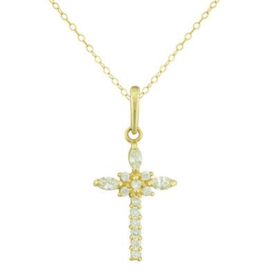 Petite Lux™ Cubic Zirconia 10K Yellow Gold Cross Pendant Necklace