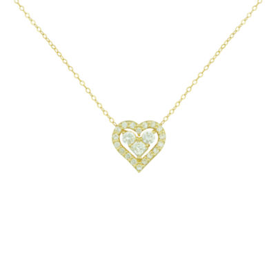 Petite Lux™ Cubic Zirconia 10K Yellow Gold Heart Necklace